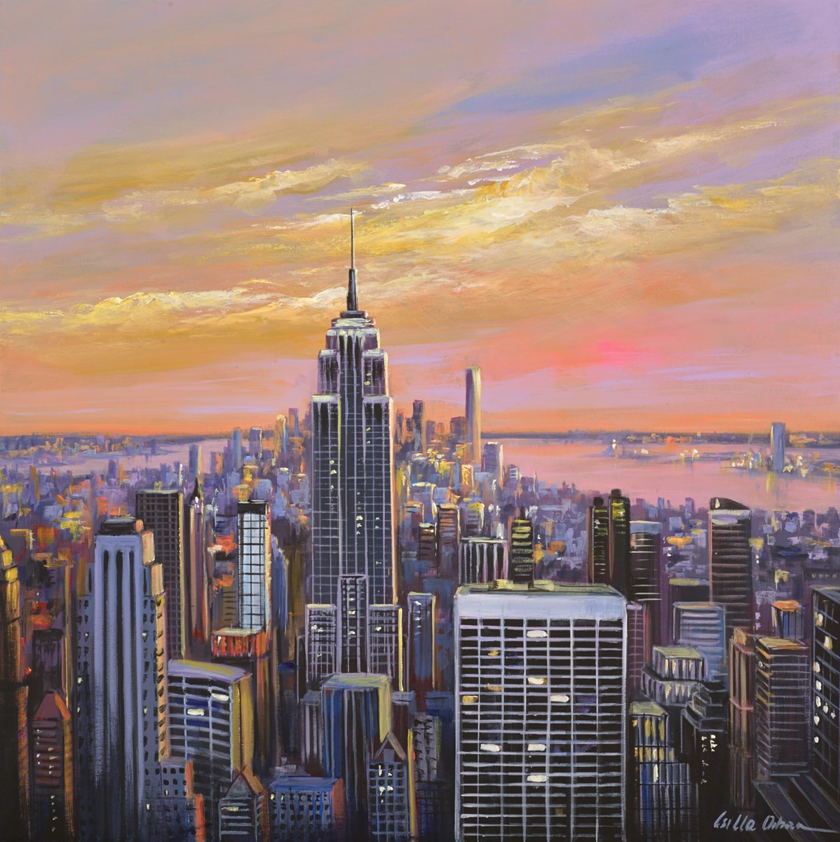 Sunset Over New York I by csilla orban -  sized 30x30 inches. Available from Whitewall Galleries